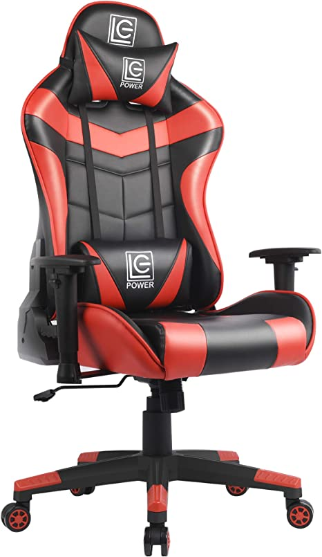 Amazon Com Lc Power Gaming Chair With Armrest Pads Ergonomic Racing Style Computer Desk Chair Office Chair Lumbar Support With Backrest And Seat Height Adjustment For Women Men Red Lc Power Kitchen Dining