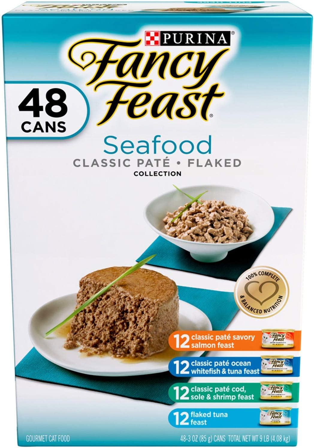 Purina Fancy Feast Grilled Seafood Collection Wet Cat Food Variety Pack (48) 3 oz. Cans
