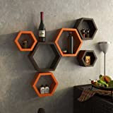 Onlineshoppee Set Of 6 Hexagon Shape Designer Storage Shelves - Orange And Brown