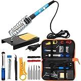 Anbes - Juego de soldador eléctrico con bolsa de herramientas, temperatura regulable, 60 W