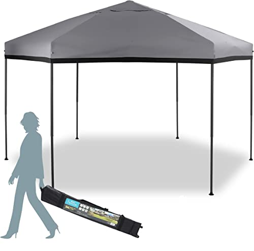 MFSTUDIO 12'x10' Hexagon Pop-Up Portable 6 Sided Gazebo,Instant Screened Canopies