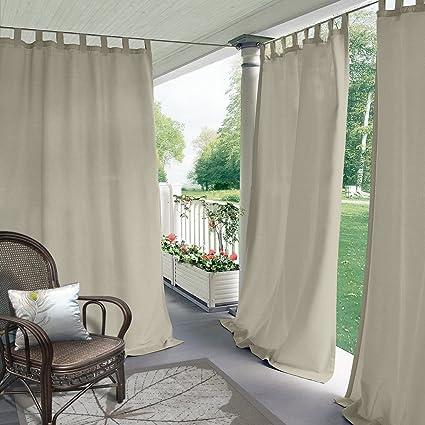 Cololeaf Indoor/Outdoor Tab Top Curtain Panels For Patio  Porch  Gazebo   Pergola