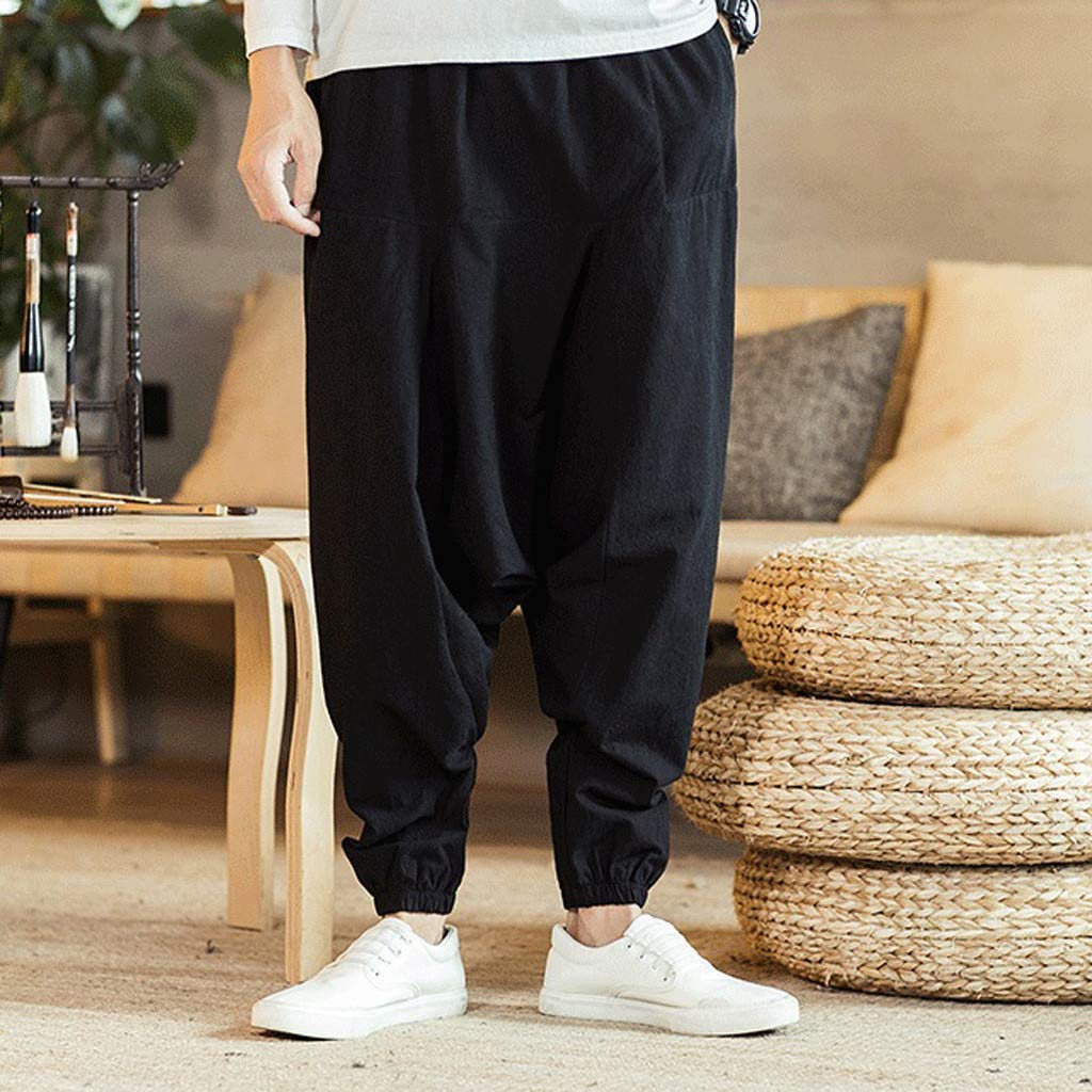 Zoilmxmen Mens Casual Fashion Loose Pure Color Hip Hop Style Cotton and Linen Length Pant