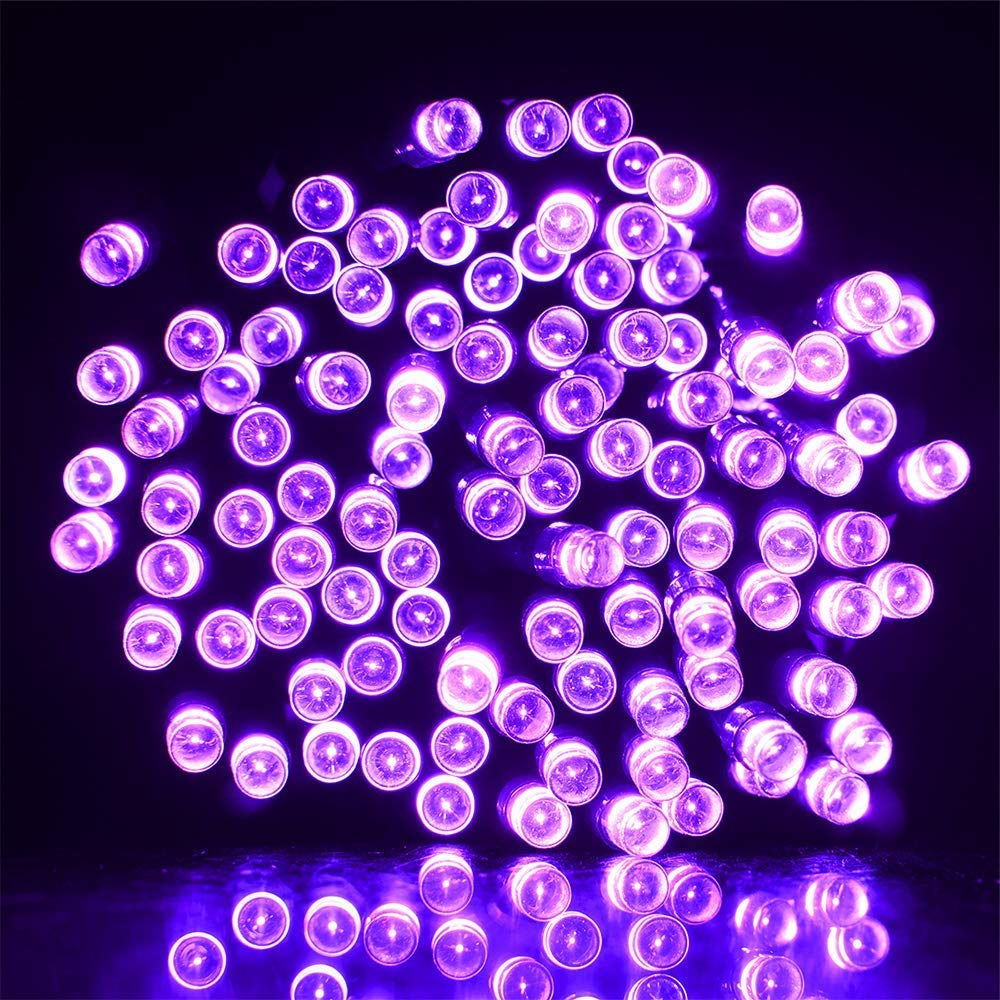 WeLax 72ft 200 LED 8 Mode Solar Powered String Lights Halloween Outdoor Decor Fairy Lights Waterproof for Indoor Garden Party Patio Home Wedding Lawn Christmas Tree Decorations (Purple) by WeLax (Image #3)