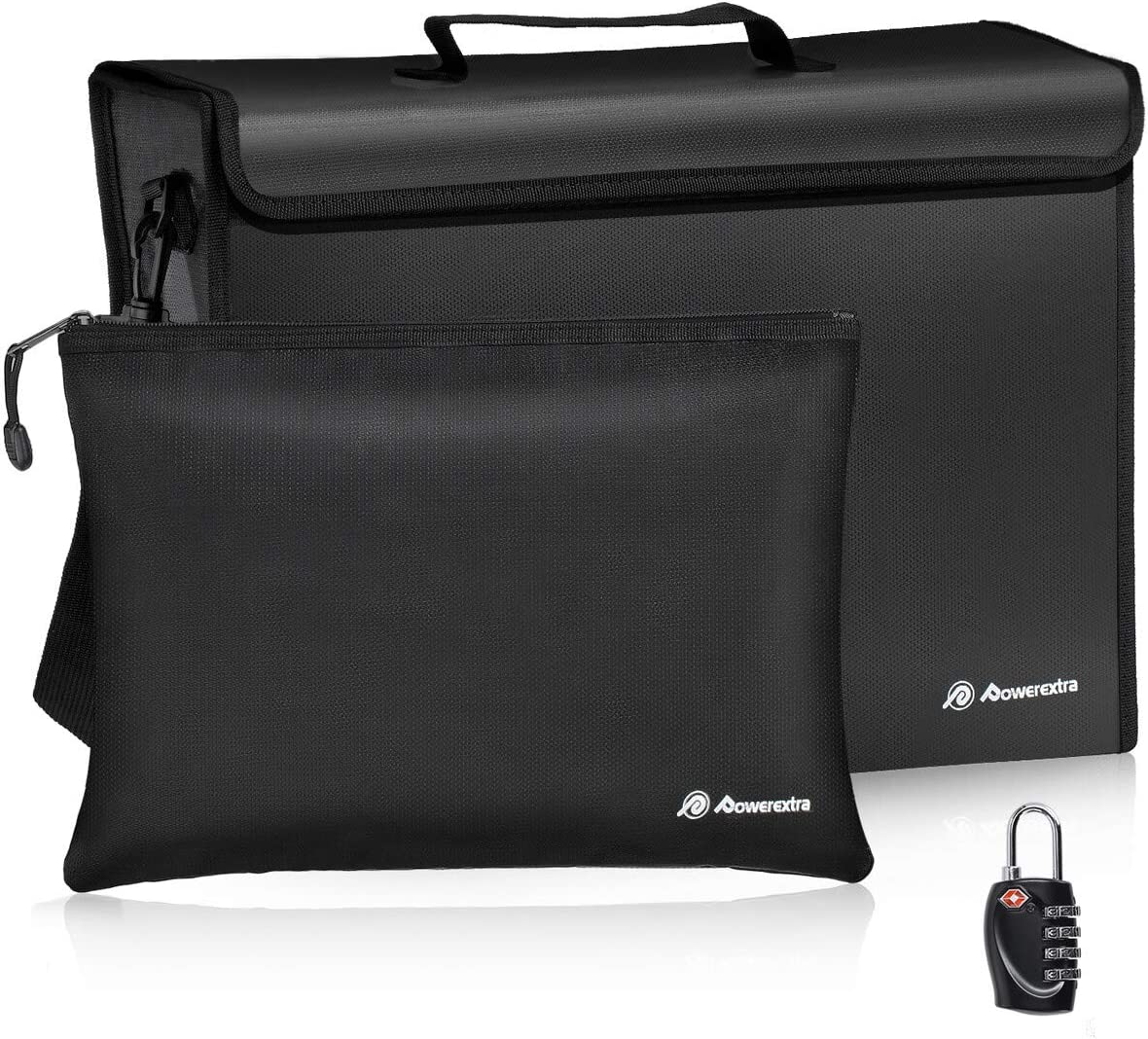 Powerextra Fireproof Document Bags File 17 x 12 x 5.8 inch Waterproof Fire Safe Bag with Lock for A4 Document Holder 13.4 x 9.4 inch and Small Fireproof Bag Cash Tablet and Valuables