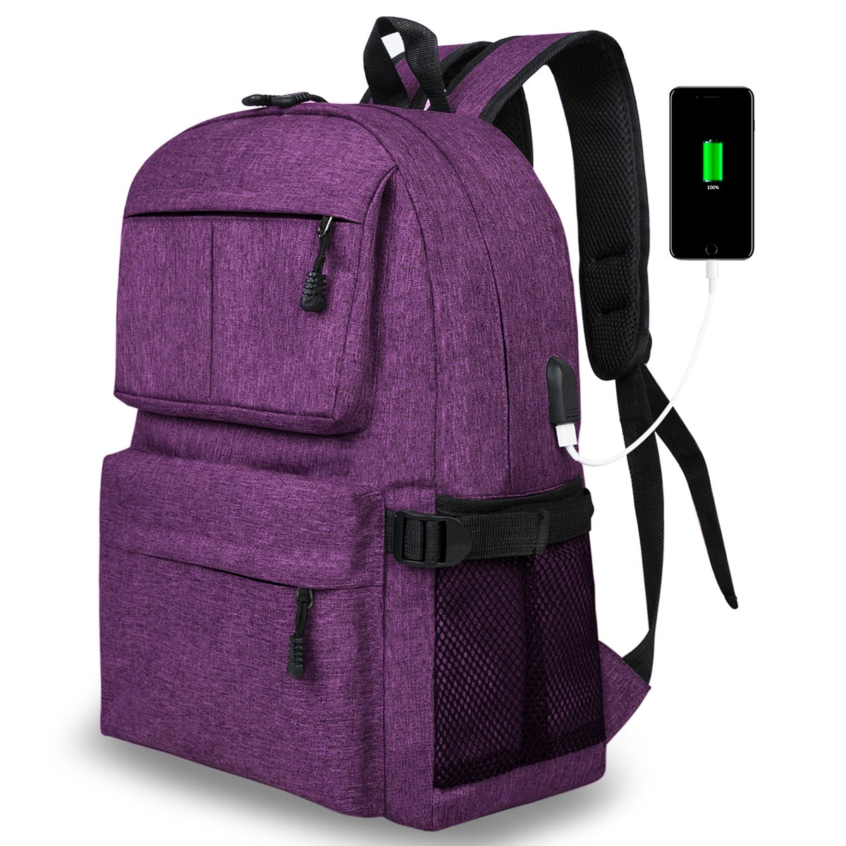 Casual Slim Laptop Backpack Lightweight School Bookbag with USB Charging Port Fits 15 Inch Laptop Notebook for College Students Travel backpack Women & Men (Purple)