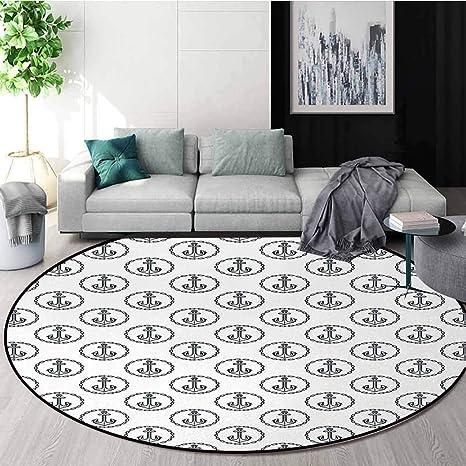 DESPKON-HOME Alfombra Redonda con diseño de Ancla y ...