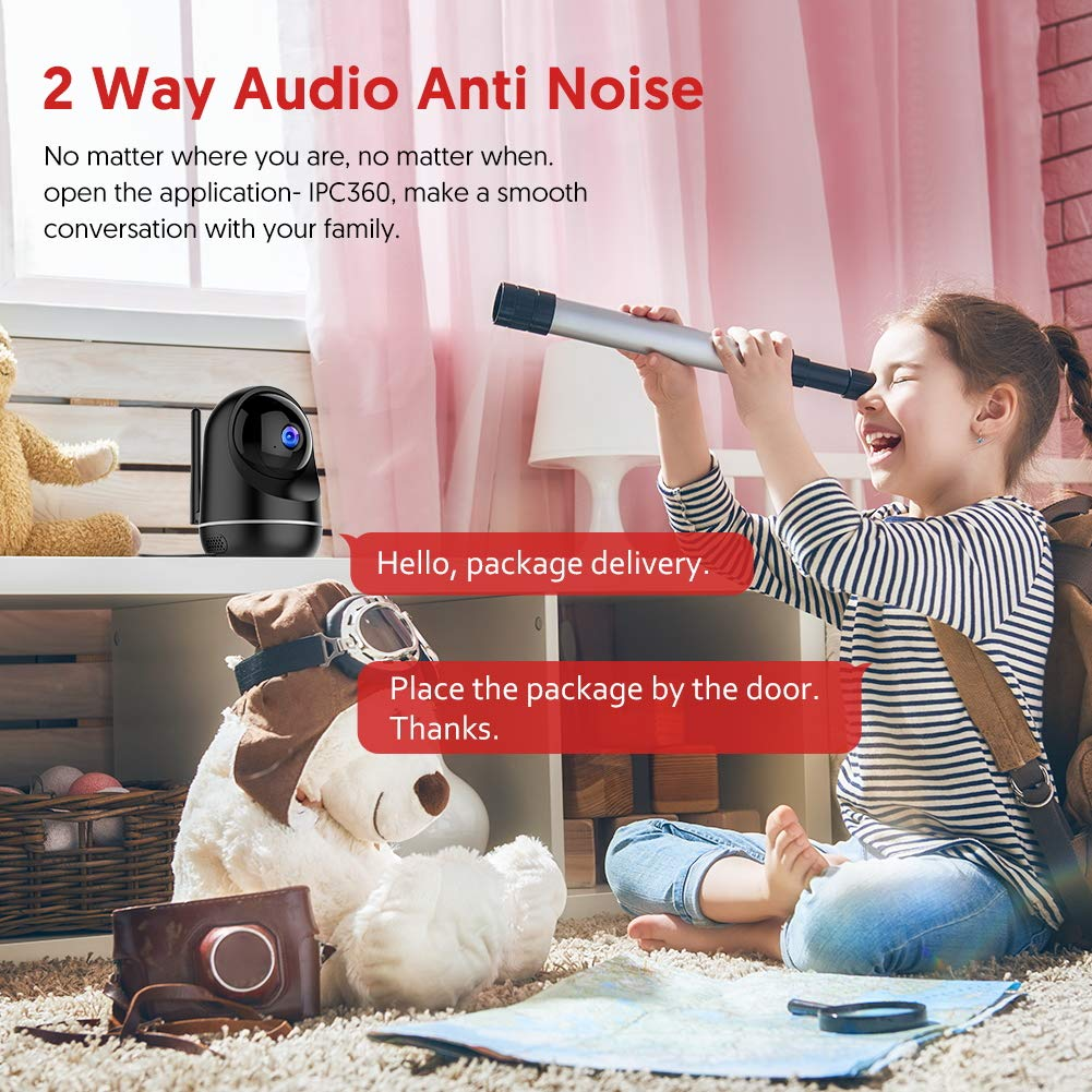 Victure Dualband 2.4Ghz and 5Ghz 1080P WiFi Camera Baby Monitor,FHD Wireless Security Camera with Motion Detection via IPC360 Pro, Pan Tilt, 2-Way Audio, Night Vision 61j9EjJ20kL