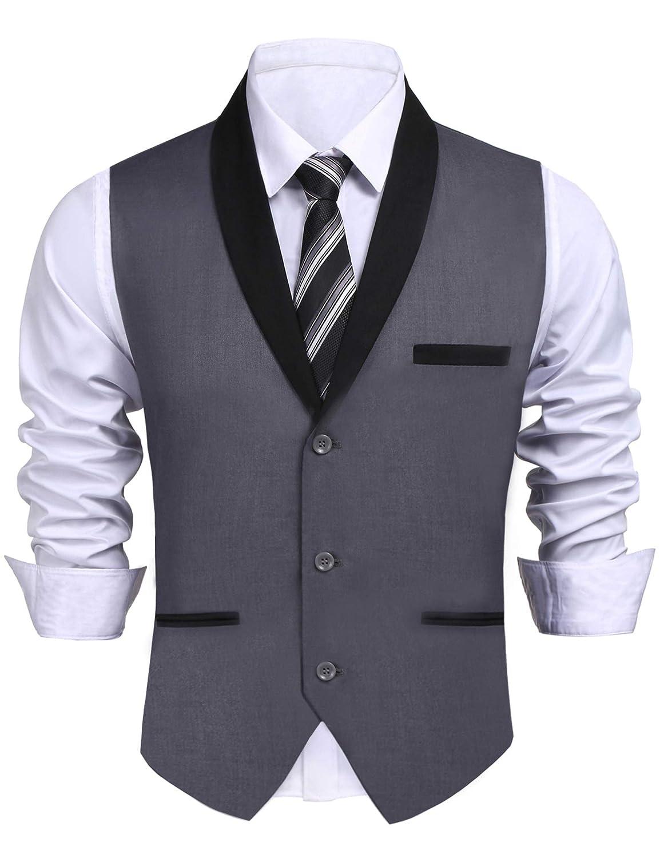 Daupanzees Men's V-Neck Sleeveless Slim Fit Vest Jacket Fashion Single-Breasted Business Suit Dress Vests
