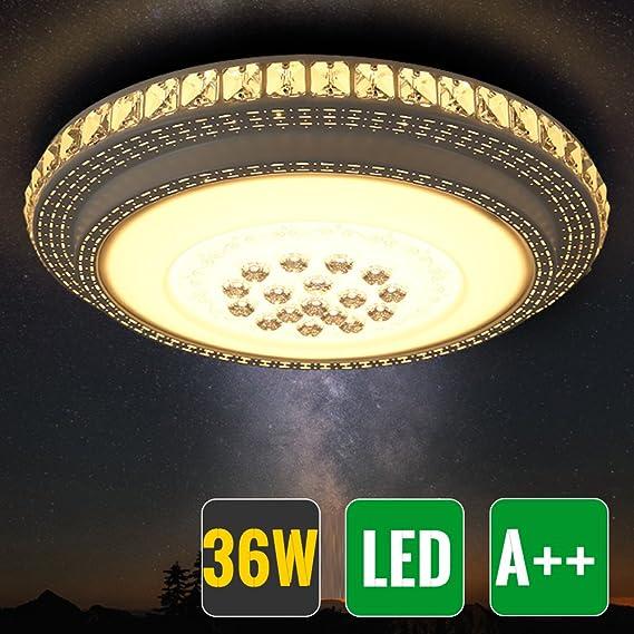 HG® Diseño Notable LED Lámpara de techo redondo cristal deckenleuchte Salón Star Light de efecto (Ronda 36W Blanco Cálido)