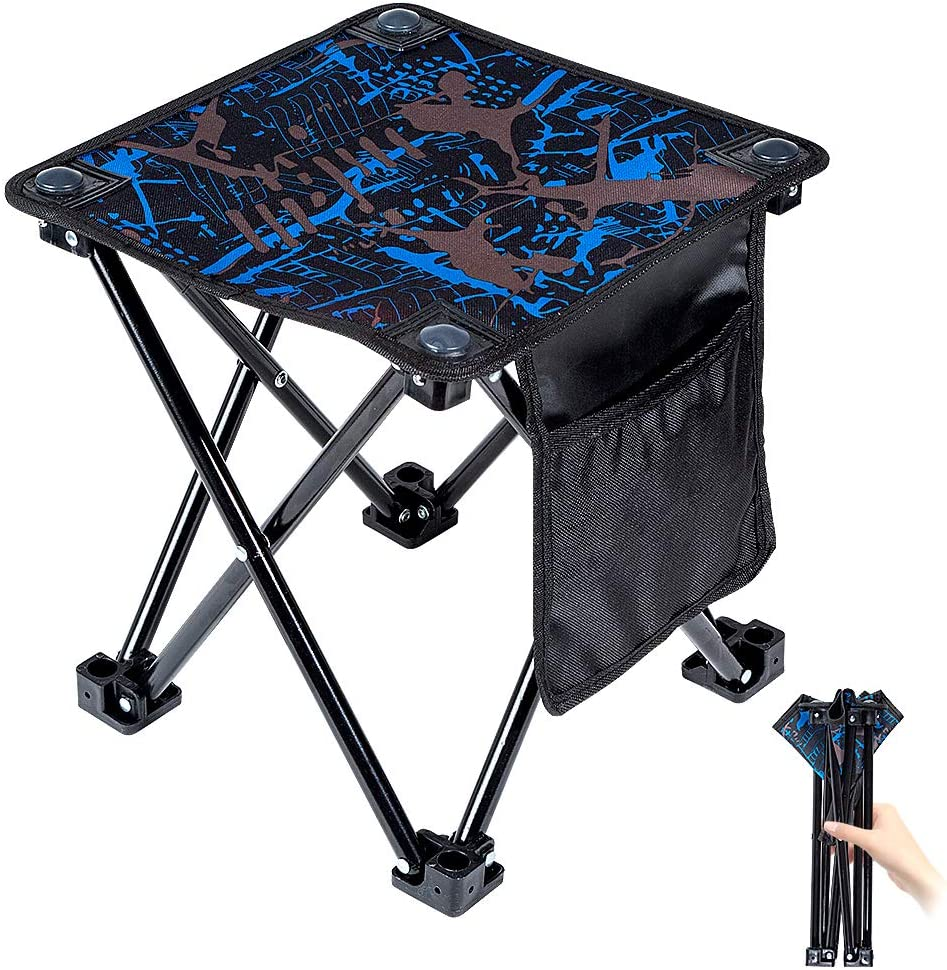 Mini Portable Folding Stool,Outdoor Folding Chair for Camping,Fishing,Travel,Hiking,Garden,Beach, Quickly-Fold Chair Oxford Cloth with Carry Bag (Camouflage, 11.5)