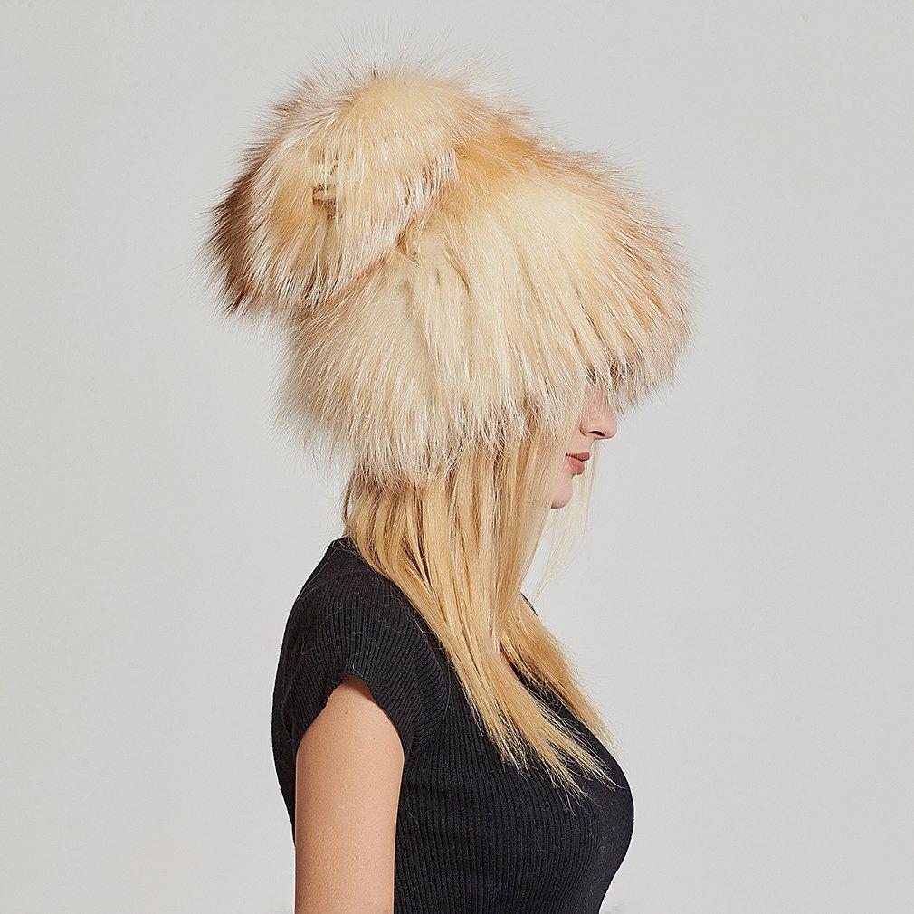 Fur Story Women's Real Fox Fur Skullies Beanie Hat Elastic Warm Winter Hats Gold Fox by Fur Story (Image #7)