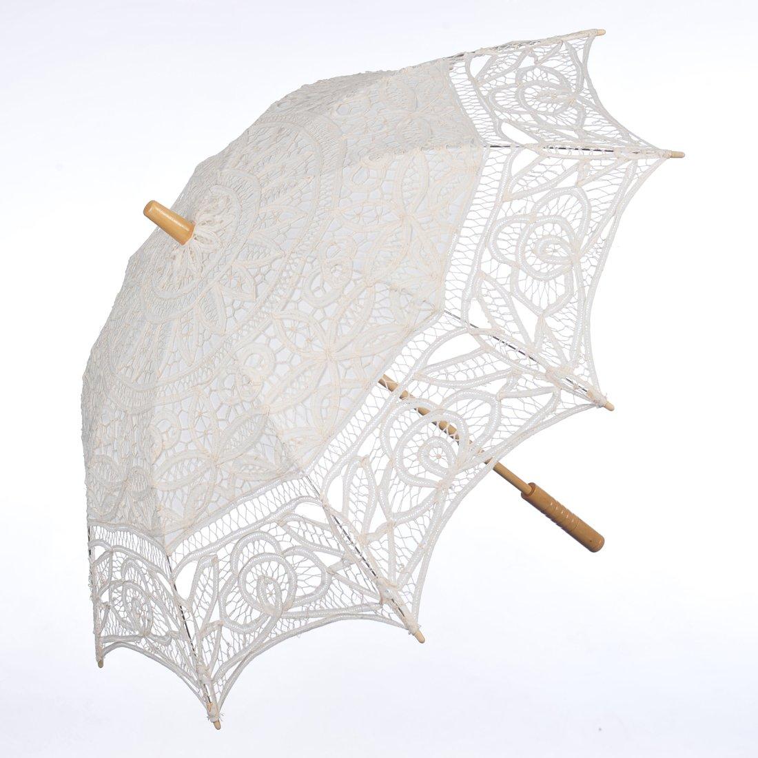 Topwedding Battenburg Lace Outdoor Wedding Parasol Bridal Shower Umbrella, Beige