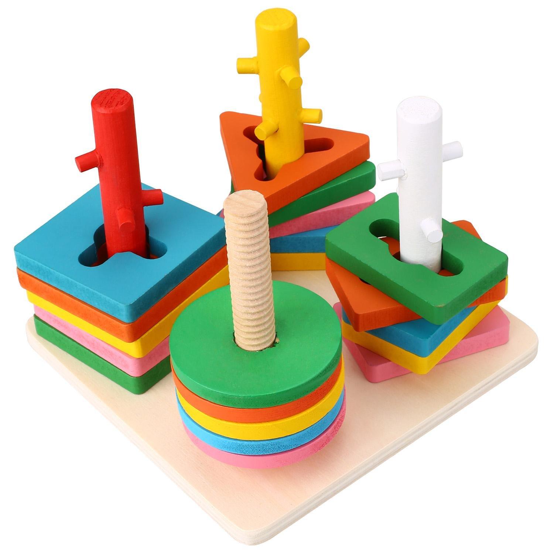 Peradix Mathematik Lernspielzeug Holz Bunte Geometrie Säulenform