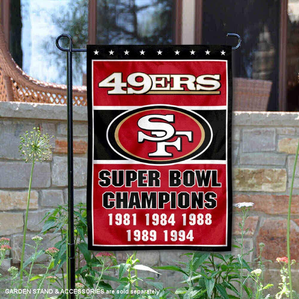 WinCraft San Francisco 49ers 5 Time Super Bowl Champions Double Sided Garden Flag