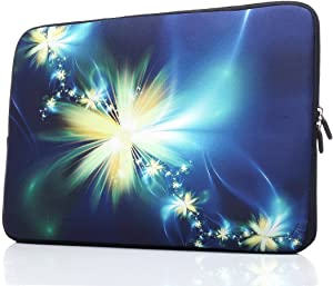 YIDA 15-15.6 Inch Laptop Sleeve Case Handle Bag Neoprene Cover, Flower