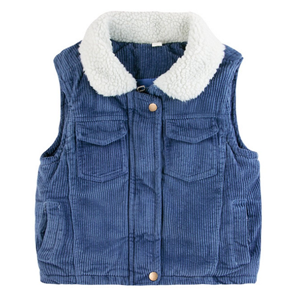LJYH Little Girls Corduroy Vest with Sherpa Lined Collar