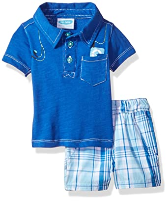 6a6594b31 Amazon.com  Bon Bebe Baby Boys  2 Pc Woven Set with Short Sleeve Collared  Button Front Shirt  Clothing