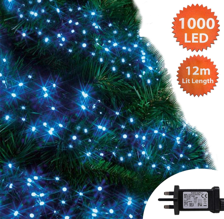 Christmas Lights 1000 Led 12m Blue Outdoor Cluster Tree Lights
