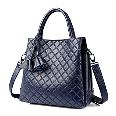 580a14e4c Amazon.com: Genuine Leather Luxury Handbags Women Bags Designer Fashion  Shoulder Bag Sac A Main Marque Bolsas Ladies Casual Handbags blue  shule-6059: ...