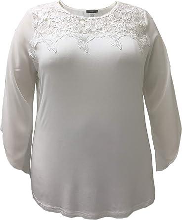 LEEBE Mujer Talla Grande - Camisa con Cuello de Encaje (1XL-5XL): Amazon.es: Ropa y accesorios