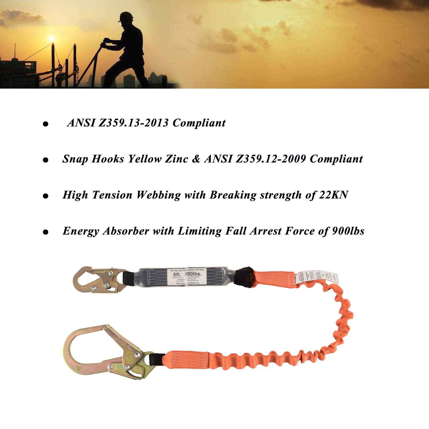 WELKFORDER Single Leg 6-Foot Fall Protection for Construction Shock Absorber Stretch Safety Lanyard with Snap & Rebar Hook Connectors ANSI Z359.13-2013 Complaint by WELKFORDER (Image #4)