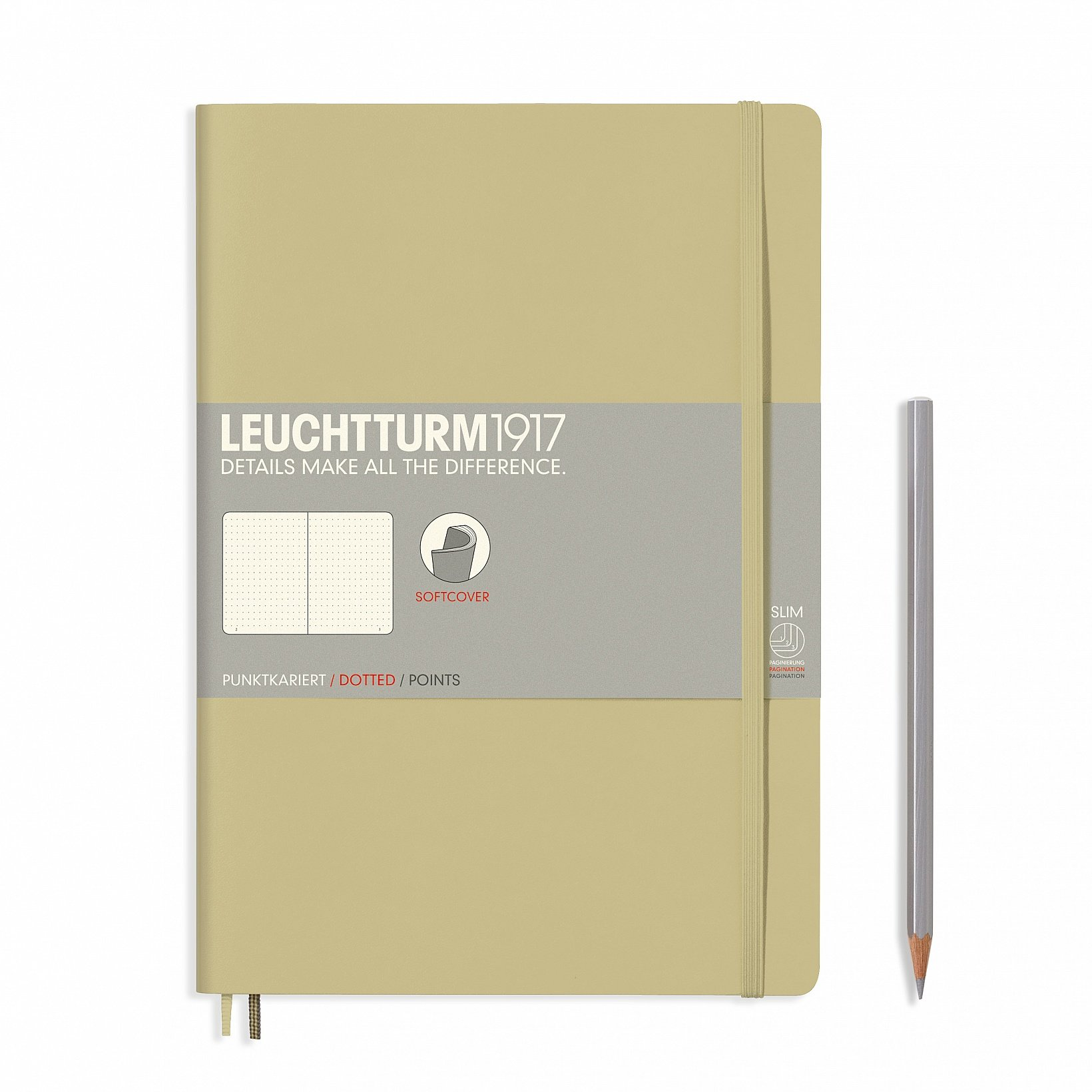 """Leuchtturm 1917 Soft Cover Composition B5 Notebook 7"""" x 10"""", Sand, Dotted / Points"""