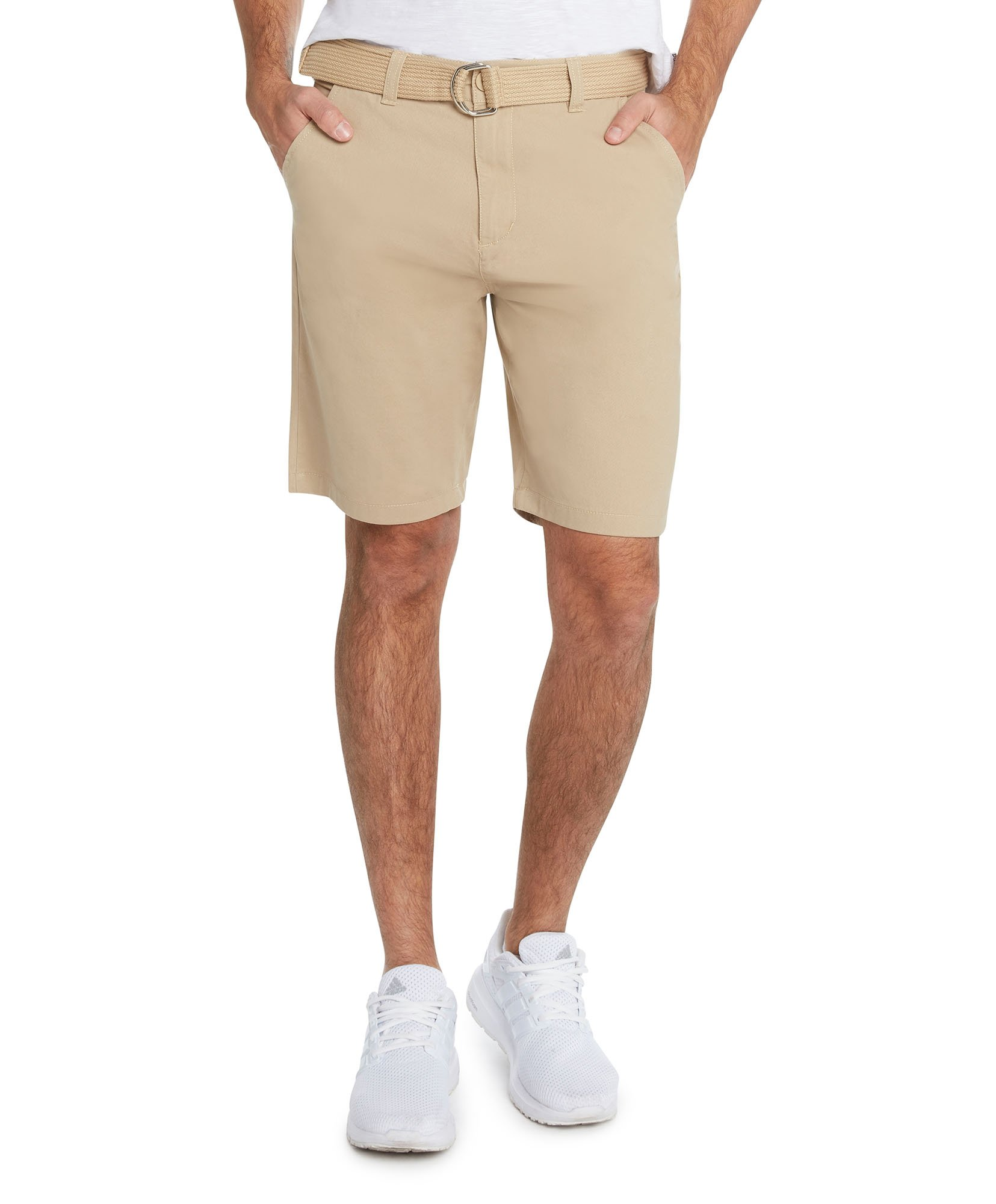 9 Crowns Men's Flat Front Modern fit Twill Chino Belted Shorts Essentials-Light Coffee-40