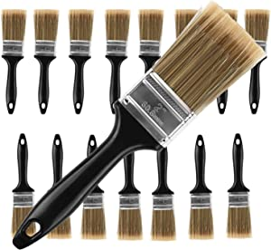 KINJOEK Paint Brush 16 Packs 2 Inch, Home Wall Trim House Chip Paintbrush Set, Professional Multi-Purpose Home Repair Tools for DIY Paint Stains Varnishes Glues Acrylics Cabinet Deck Fence Edge Door