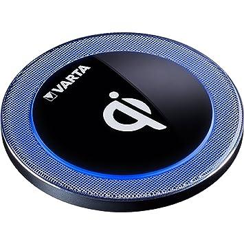 Varta Qi - Cargador inalámbrico por inducción Ultra Fino (Carga rápida, Compatible con iPhone X/iPhone 8 / iPhone 8 Plus/Samsung Galaxy/Lumia/LG/HTC y ...