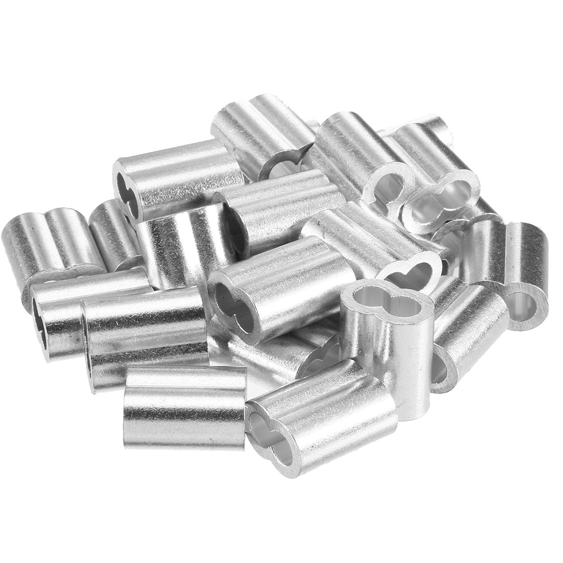 uxcell 0.31 inch (8mm) Diameter Wire Rope Aluminum Sleeves Clip Fittings Cable Crimps 20pcs