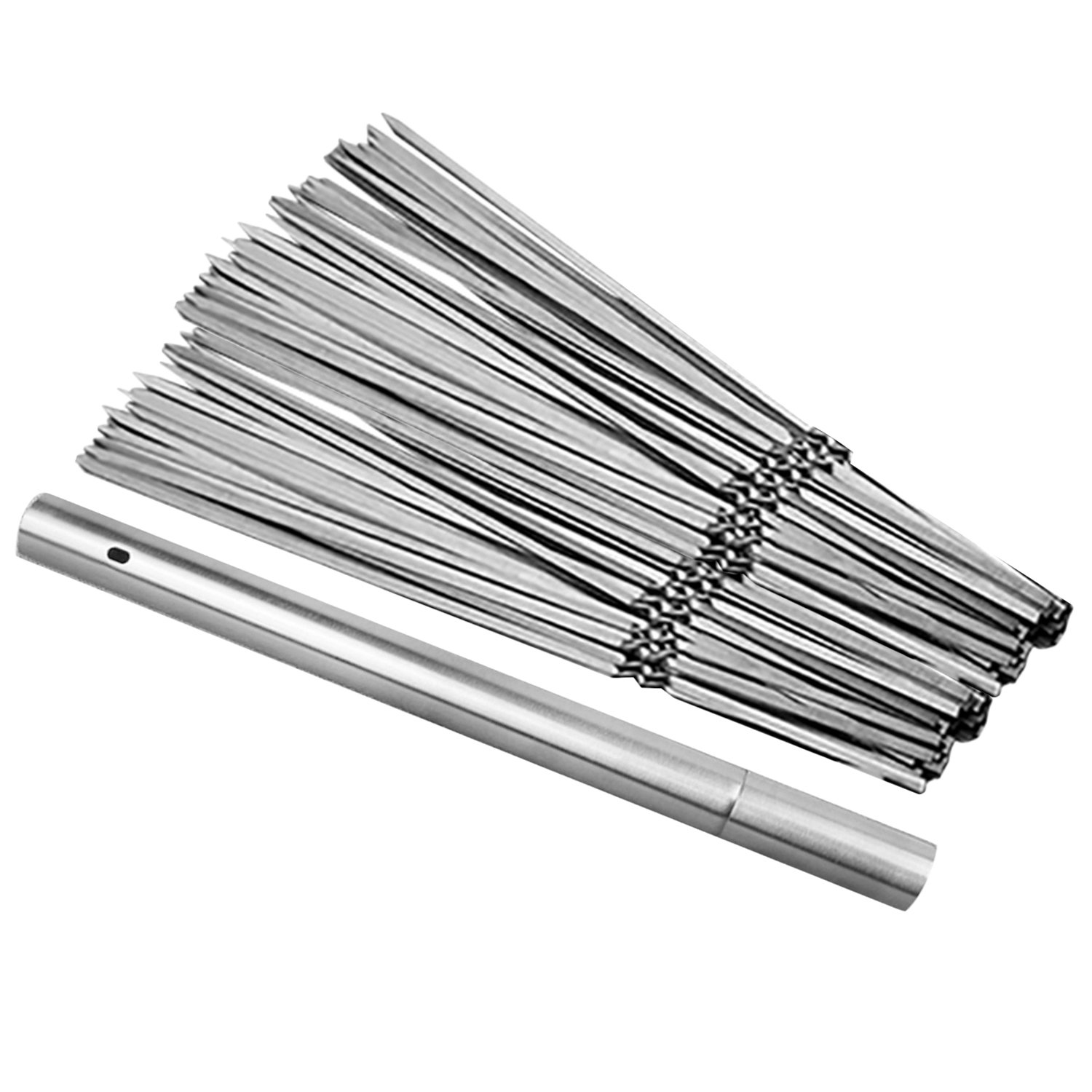 20pcs 14 Inch Reusable Stainless Steel Flat Grilling BBQ Kabob Meat Skewers Sticks with Storage Box Container for Outdoor BBQ Barbecue Cooking Migavan