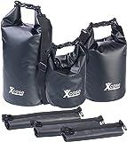 Xcase Paddelsäcke: 3er-Set Wasserdichte Packsäcke aus LKW-Plane, 5/10/20 Liter, schwarz (Seesack)