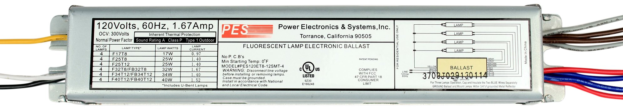 Power Electronics & Systems PES120ET8-12SMT-4 2 Lamp 120V Instant Start Fluorescent Dimming Electronic Ballast for 2- F17T8, F25T8 and F32T8 T8 Bulbs