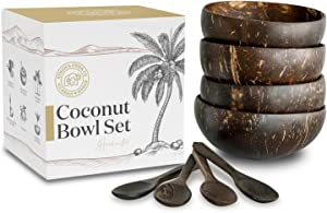Coconut Bowls with Spoons Sets of 4 by Ethan & Owen Co, Premium 100% Natural Reclaimed Coconut Bowls, Coconut Bowls For Smoothies, Acai Bowls Wooden Smoothie Bowls and Spoons