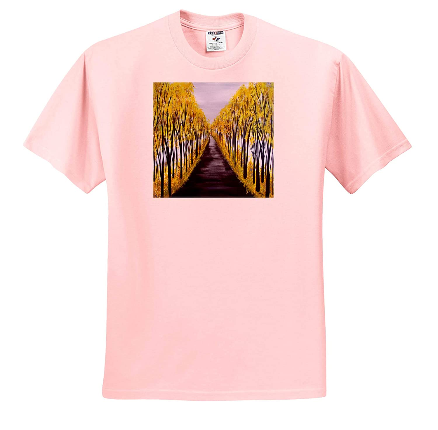 - T-Shirts Trees 3dRose Art by Mandy Joy A Realistic Image of a Road and Yellow Trees in The Fall
