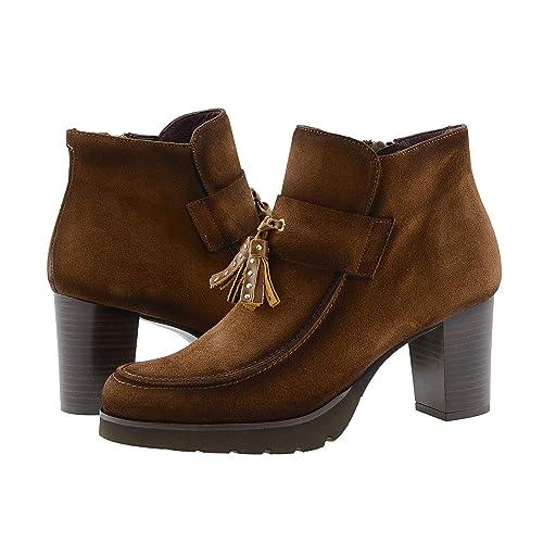 Botines Piel Serraje marrón con borlas: Amazon.es: Zapatos y complementos
