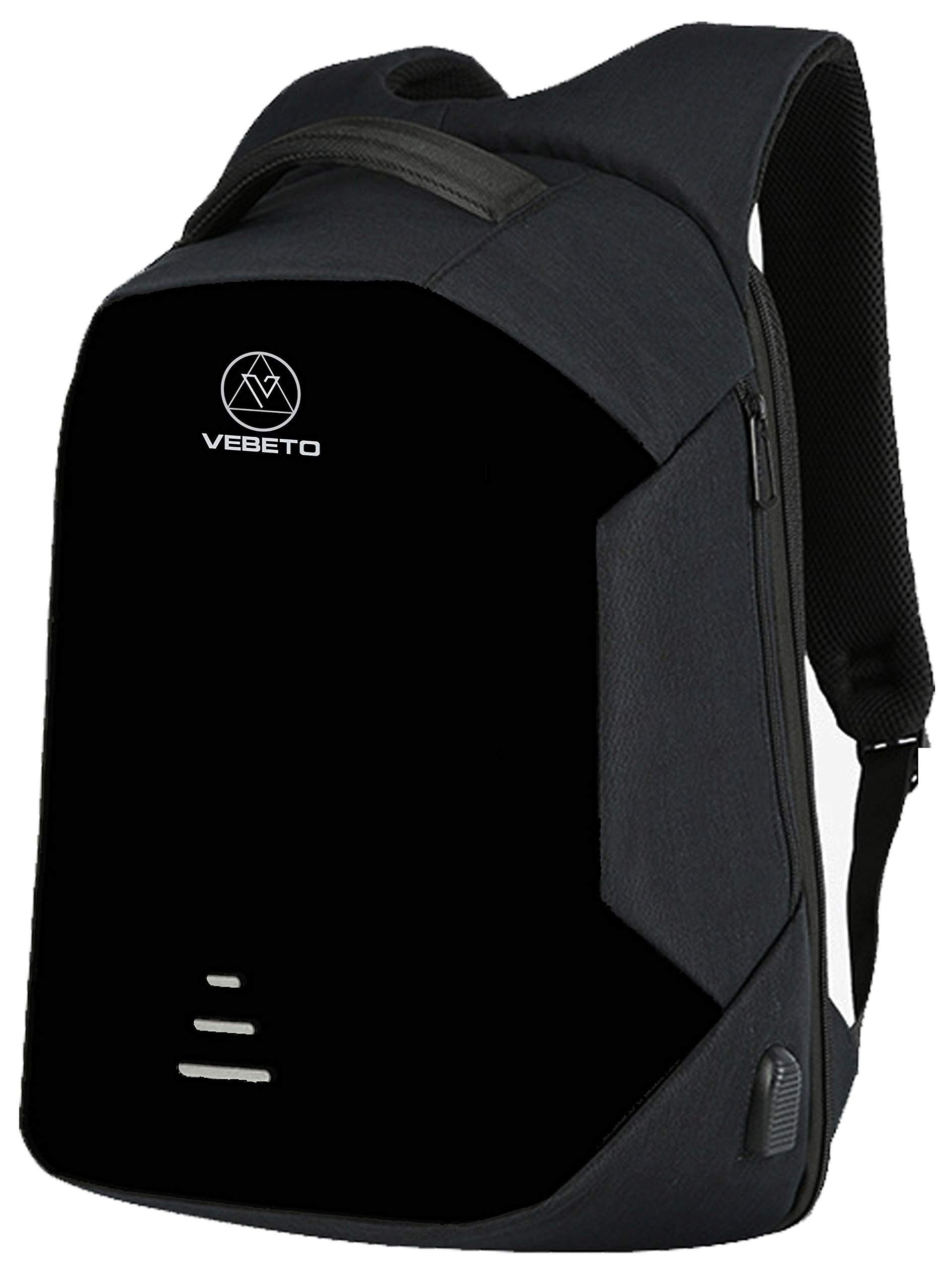 Vebeto Anti Theft Backpack with USB Charging Port 15.6 Inch Laptop Bagpack Waterproof Casual Unisex Bag for School College Office Suitable for Men Women (Black) product image