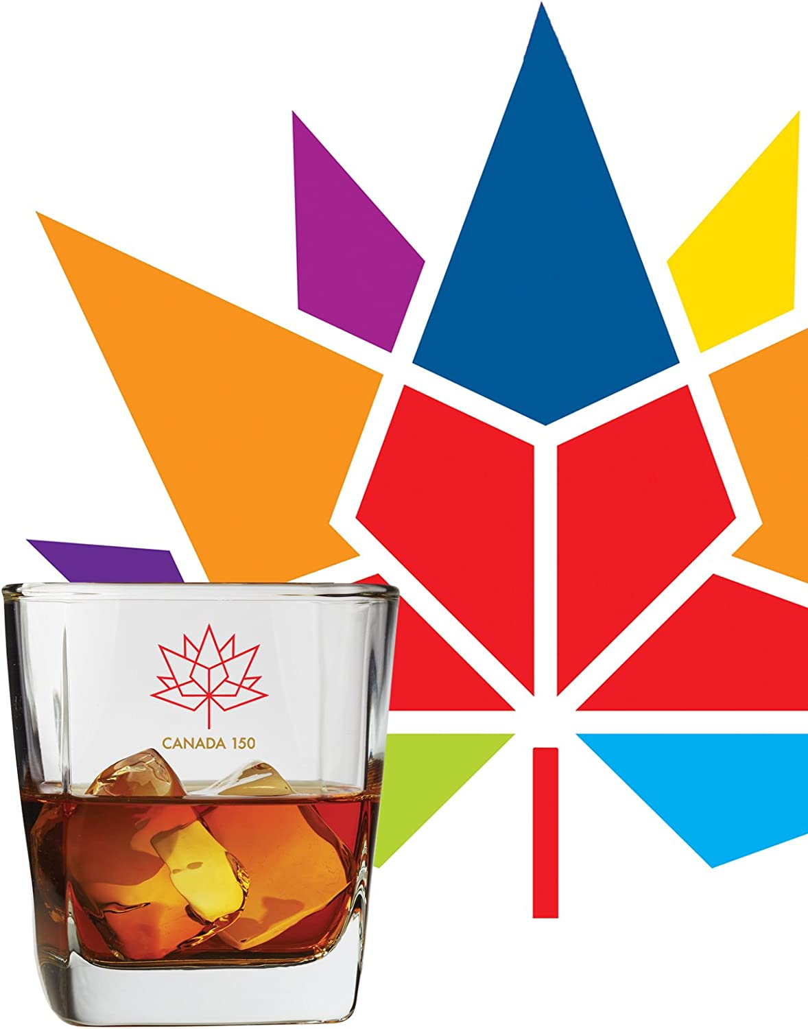 Canada 150 Years Anniversary 1867-2017 Logo Deluxe Whisky Glass Set of 4