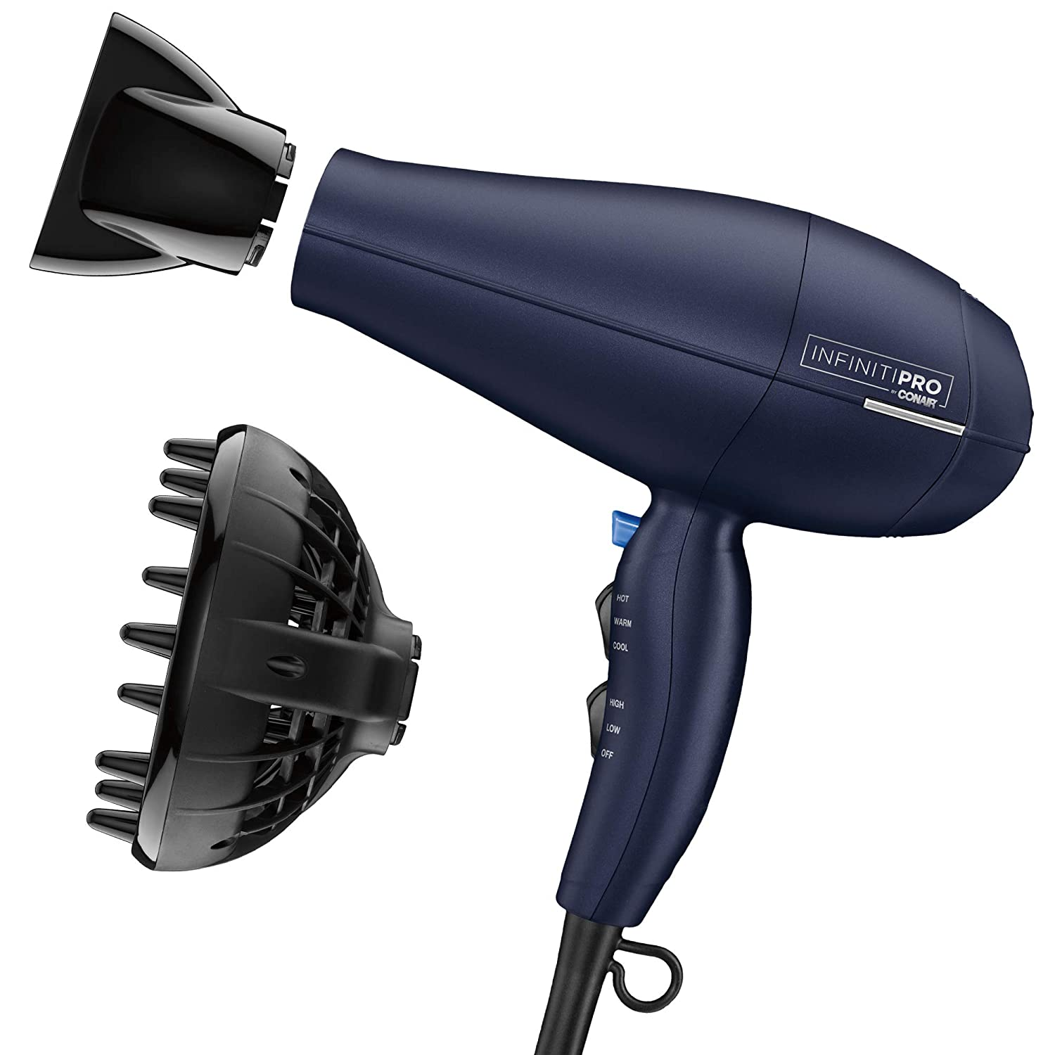 INFINITIPRO BY CONAIR 1875 Watt Texture Styling Hair Dryer for Natural Curls and Waves, Dark Blue, 1 Count: Beauty
