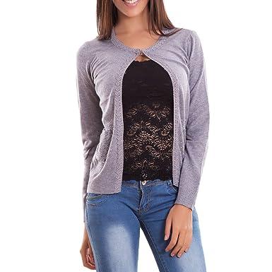 Coprispalle donna bottone cardigan fiori strass pizzo pullover maglione G117