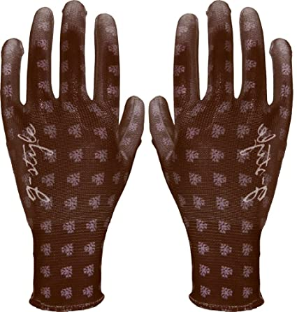 G U2013 Style [Gardening Gloves] PU Cute (Leaf Pattern) Brown Medium 10