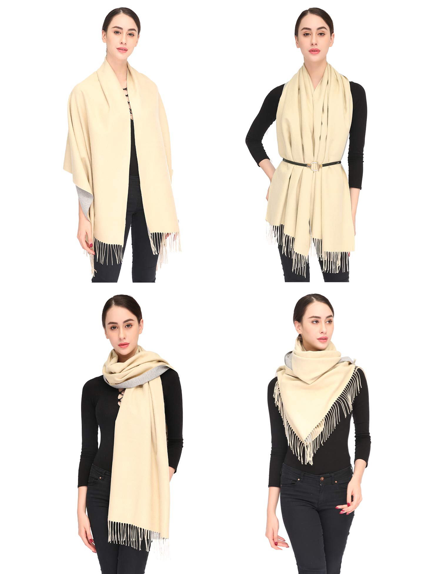 Luxuriously Soft Large Winter Scarves GIft Box Women Stylish Warm Blanket Scarf Solid Oversized Pashmina Cashmere Shawl Wrap Scarves 75''x25.5'' (Beige/Grey, Box) by Arctic Penguin (Image #5)