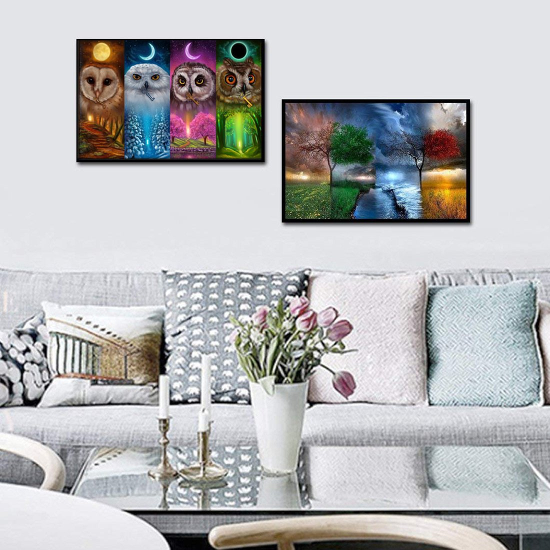 12x16inch 12x16inch /& Four Seasons Tree DIY Rhinestone Pasted Paint Set for Arts Craft Decoration 2 Pack by Yomiie 5D Diamond Painting Full Drill by Number Kits for Adults Kids Four Seasons Owl