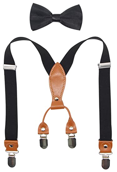 2ac75a2669c0 Suspenders & Bowtie Set for Kids and Baby - Adjustable Elastic X-Band  Strong Braces