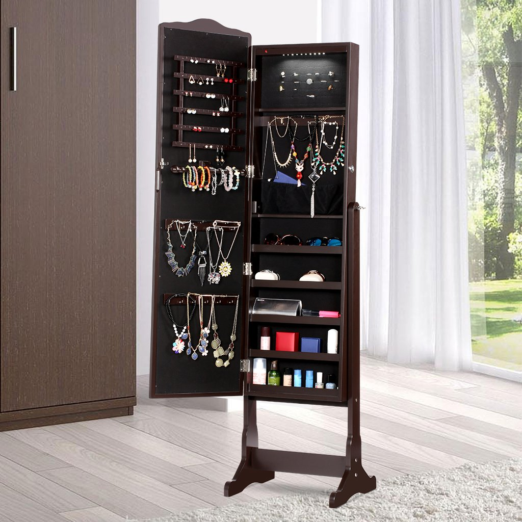 LANGRIA 10 LEDs Free Standing Jewelry Cabinet Lockable Full-Length Mirrored Jewelry Armoire with 5 Shelves, Organizer for Rings, Earrings, Bracelets, Broaches, Cosmetics, Brown by LANGRIA (Image #10)