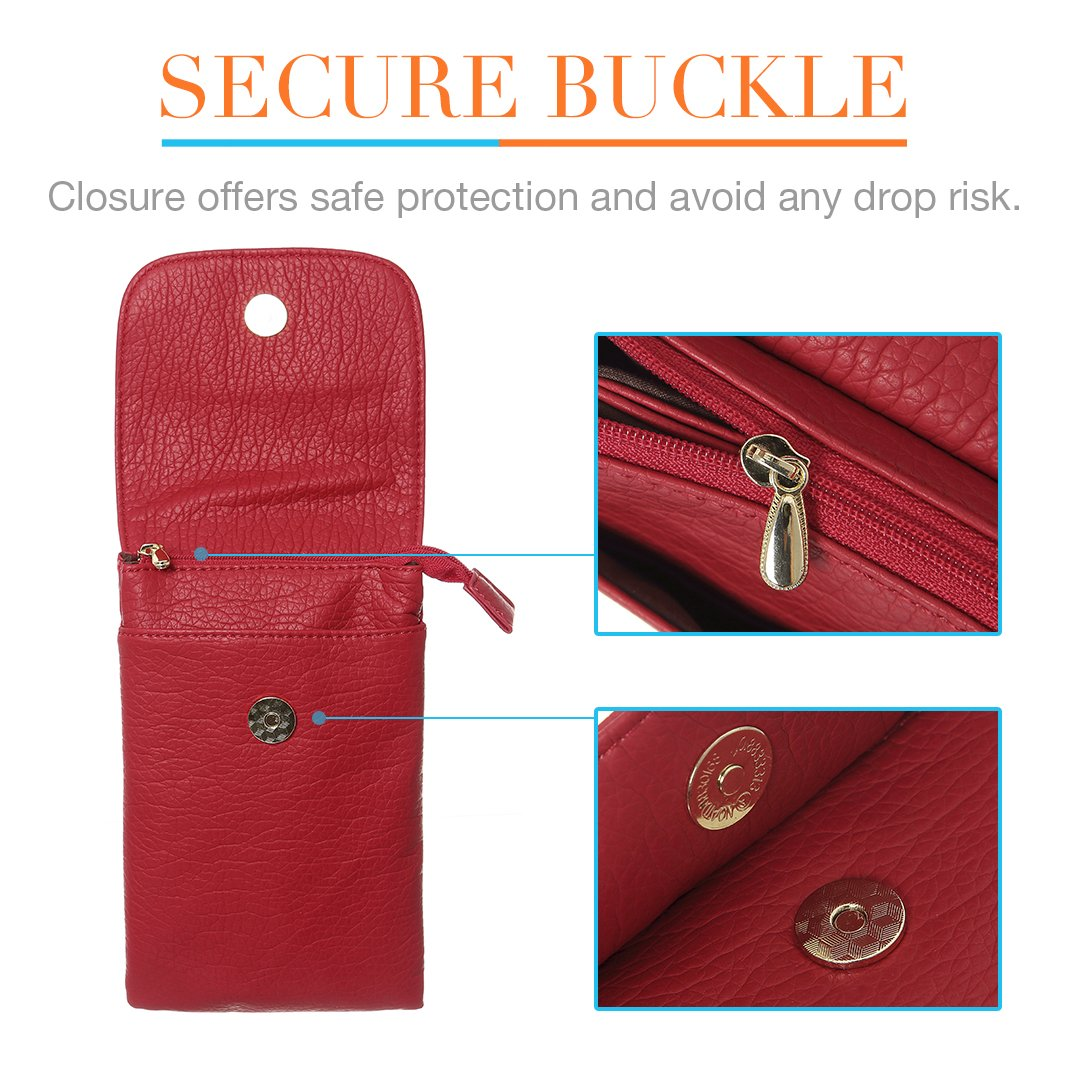 MINICAT Snythethic Leather Small Crossbody Bag Cell Phone Purse Wallet For Women(Red) by MINICAT (Image #4)
