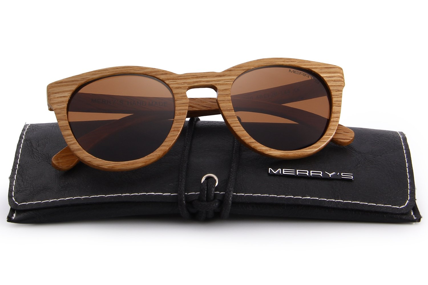 MERRY'S Polarized Full Frame Wooden Coated Floating Sunglasses Mens/Womens vintage Eyewear S5268 (Brown, 48)