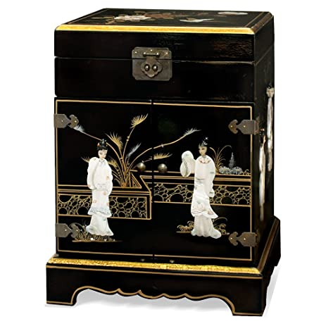 China Furniture Online Chinoiserie Jewelry Cabinet, Hand Painted Scenery  With Maiden Mother Pearl Inlay Jewelry