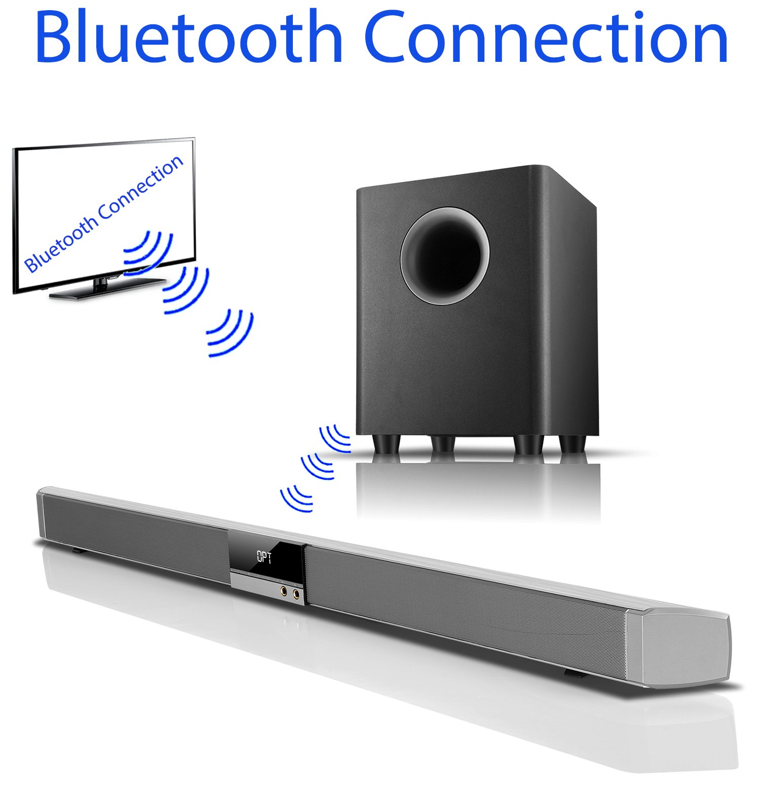 Boytone BT-888 Audio 39 inch 80W Bluetooth Sound Bar with Bluetooth Subwoofer Home Theater System for Streaming TV, Phones Tablets, Automatically Connect Your Subwoofer to the Sound Bar and Source